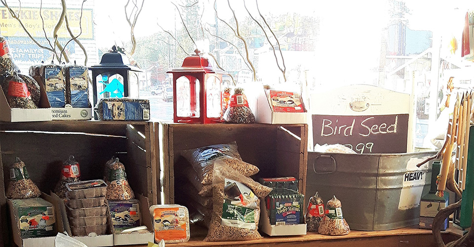 Products displayed in front of Cat Nap and Lazy Dog window